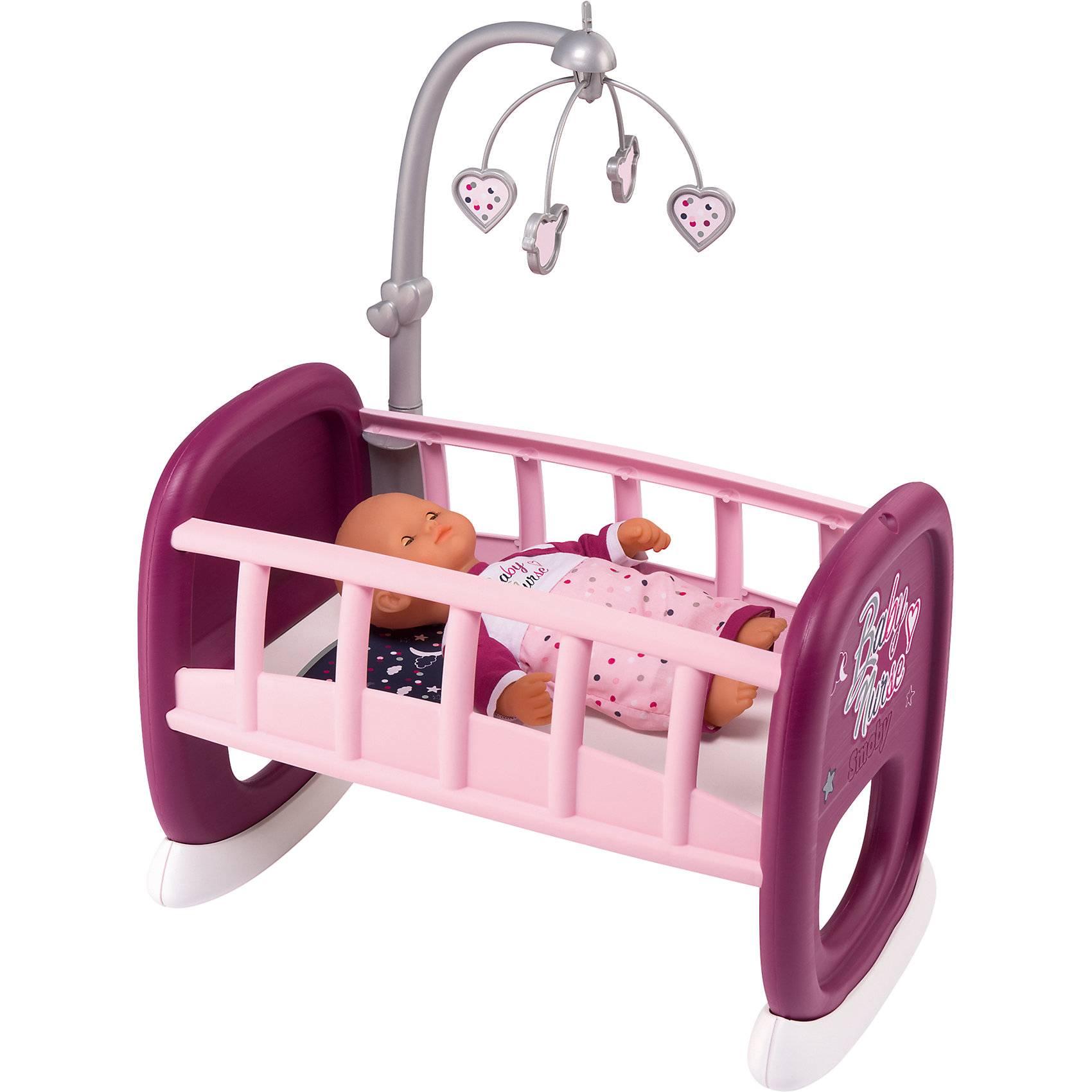 Smoby Baby Nurse Колыбель для пупса, с мобилем