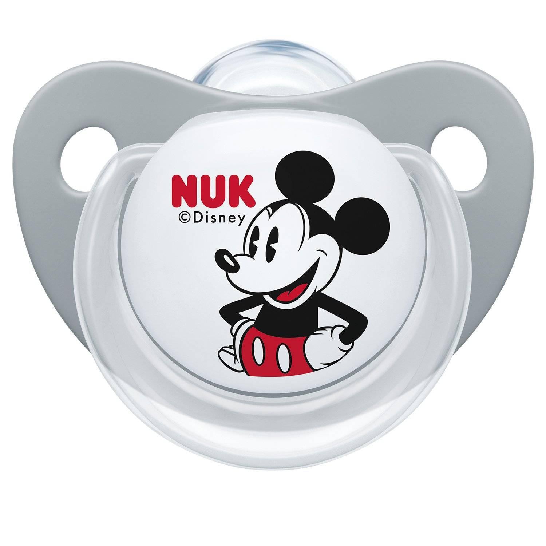 Nuk Пустышка Микки Маус, силиконовая, 6-18 месяцев, цвет серый по цене 471
