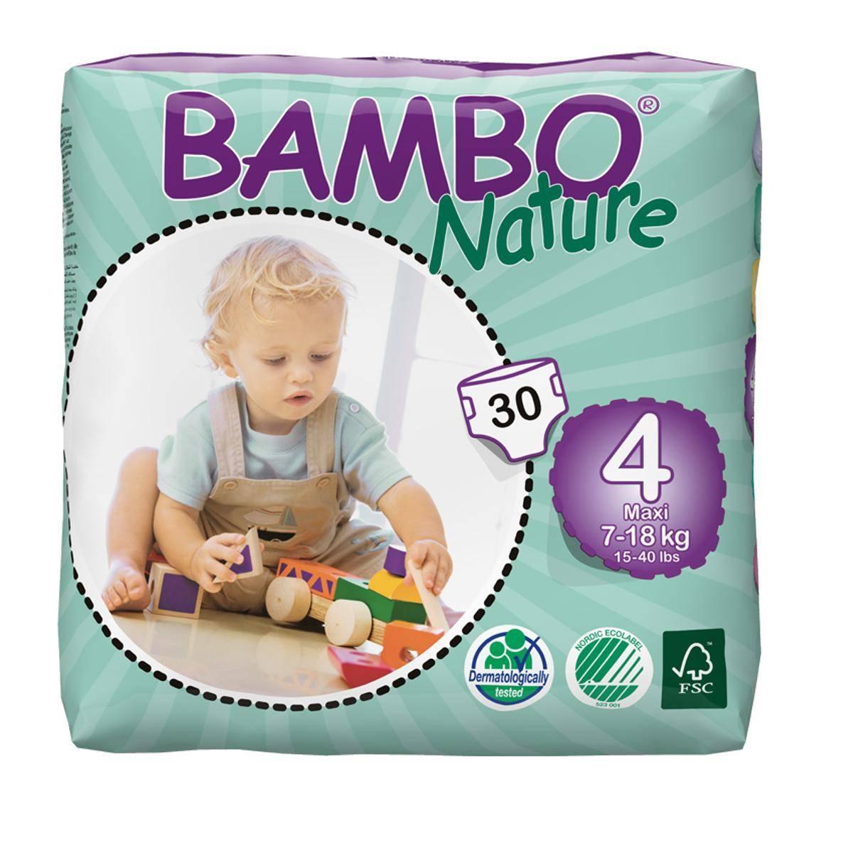 Подгузники Bambo Nature Max 7-18 кг (30 шт), Дания  - купить со скидкой