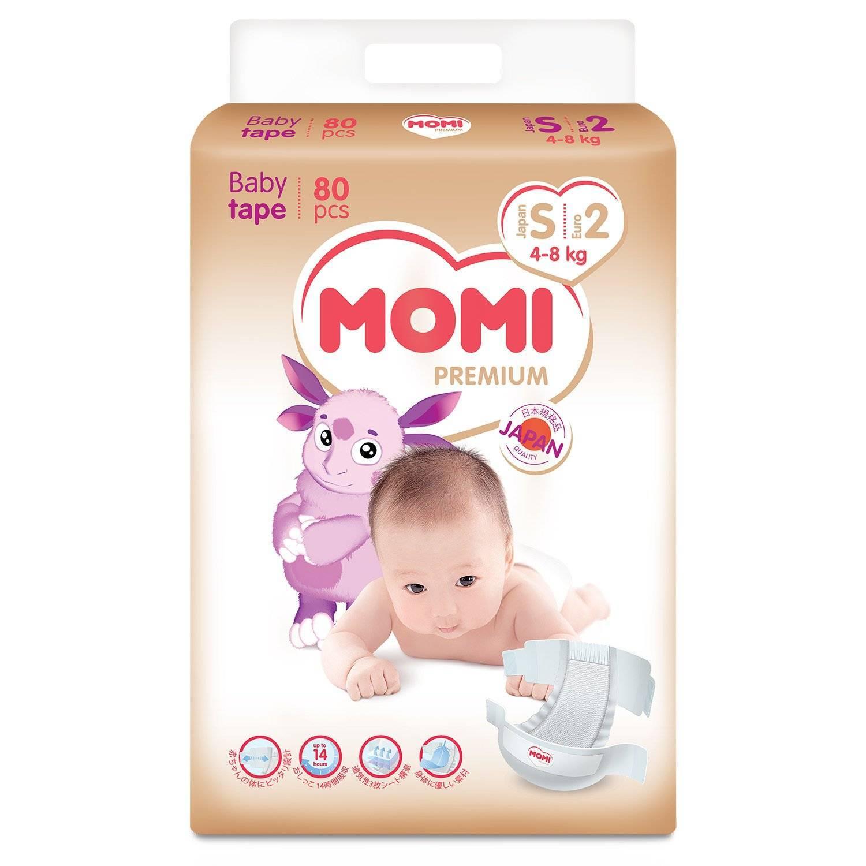 MOMI Premium Подгузники S (4-8кг), 80 шт по цене 1 014