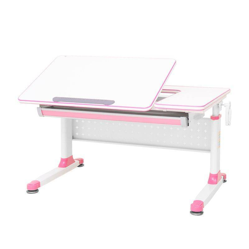 Rifforma-100 Парта растущая (цвет столешницы: белый, цвет ножек: белый, цвет кромки: розовый)