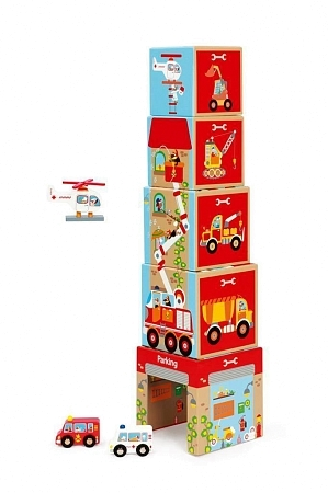 Картинка Кубики SCRATCH 6181088 Stacking Tower Cars and helicopter магазин gnom.land